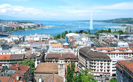 General view of Geneva. The city of Geneva, the Leman Lake and the Water Jet, in Switzerland, Europe, general and aerial view Stock Photography