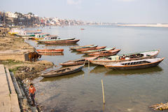 General View of Ghats and the Ganges River, Varanasi, India Royalty Free Stock Images