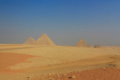 General view of the Giza Pyramids in Cairo. Egypt Royalty Free Stock Photo
