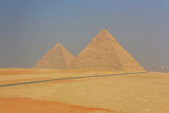 General view of the Giza Pyramids in Cairo. Egypt Stock Photography