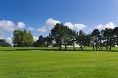 General view of a green golf course on a bright sunny day. Idyllic summer landscape. Sport, relax, recreation and Stock Photos