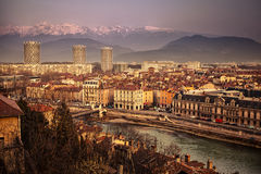 General view of Grenoble in Isere, France. With the Alps mountains in the distance royalty free stock photo