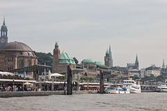 General view of the Hamburg. From Elbe side Royalty Free Stock Photography