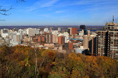 General view Hamilton Central Ontario, Canada. Aerial view of Hamilton Central, Ontario, Canada, with Lake Ontario on background and surrounding forest Stock Photography