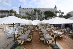 A general view of hotel Carlton. CANNES, FRANCE - MAY 8: A general view of hotel Carlton during the 71th Annual Cannes Film Festival on May 8, 2018 in Cannes Royalty Free Stock Photo