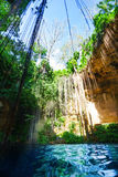 General view of Ik-Kil cenote with blue water Royalty Free Stock Image