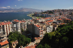 General view on Izmir, Turkey. (sunny day royalty free stock photo