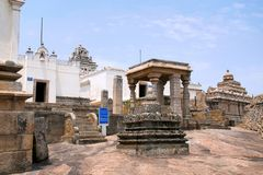 General view of Jain basadis or temples on Chandragiri hill, Sravanabelgola, Karnataka. India To the extreme left is Terina Basadi, white color, and extreme stock image
