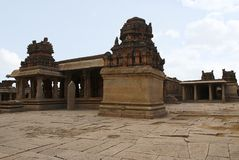 A general view of the Krishna Temple complex, Hampi, Karnataka. Sacred Center. The maha-mandapa and the large open prakaras on the. A general view of the Krishna stock photo