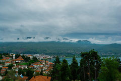 General view of Macedonian city Ohrid with lake royalty free stock image
