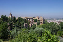 General view of medieval Alcazaba fortress of Alhambra, from Gen Royalty Free Stock Images
