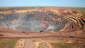 General view of the mine. Trucks carry ore Stock Image