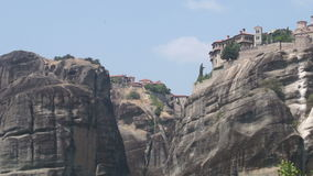 General view of the monasteries in Meteora, Greece stock footage