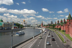 General view at Moscow. General view at the Moscow center with the kremlin wall, Moskva river and the Cathedral of Christ the Saviour, Russian Federation stock images