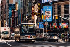 General view of 42nd street  Times Square in Midtown Manhattan New York City. New York City - USA - Mar 12 2019: General view of 42nd street  Times Square in stock images