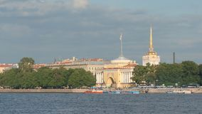 General view of the Neva river and the Admiralty. St Petersburg, Russia Stock Photo