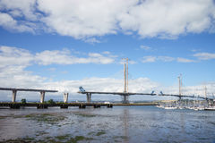 A general view of the new Queensferry Crossing Bridge under construction, seen from Port Edgar Edinburgh, Scotland. The new Queensferry Crossing Bridge under royalty free stock photo