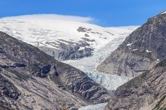 General view of the Nigardsbreen. Seen from the car park stock image