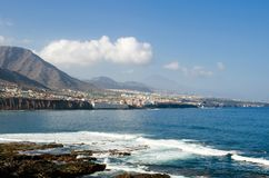 General view of the North coast of Tenerife island. Small towns of Bajamar and Tejina. Mount Teide in the background. Canary Islands, Spain royalty free stock photography