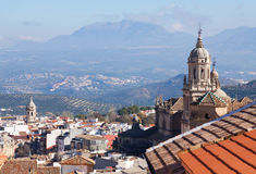 General view of  old andalusian city with church Royalty Free Stock Photos