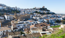 General view of old andalusian town. Martos, Spain. General view of old andalusian town with church and castle. Martos, Spain Stock Photos