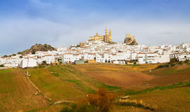 General view of old andalusian town. Olvera, Spain. General view of old andalusian town with church and castle. Olvera, Spain stock photos