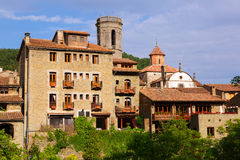 General view of old catalan village.  Besalu. Catalonia, Spain Stock Images