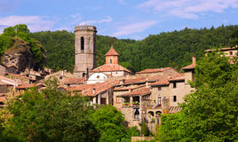 General view of old catalan village in summer day.  Besalu Stock Photos
