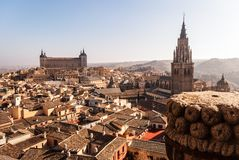 General view of the old town of Toledo Spain stock photos