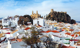 General view of Olvera with church and  castle Royalty Free Stock Images
