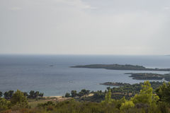 General view over Aegean sea. Sithonia. Royalty Free Stock Photography
