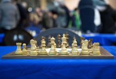 General view over a chess board before tournament Royalty Free Stock Images