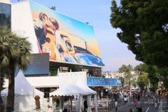 A general view of  Palais de festival. CANNES, FRANCE - MAY 8: A general view of street Palais de festival during the 71th Annual Cannes Film Festival on May 8 Royalty Free Stock Image