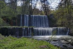 General view of Part at waterfall cascade of river Bistritsa between village  Bistritsa and village Pancharevo, place for tourism. And travel in Vitosha stock photo