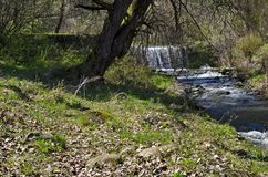 General view of Part at waterfall cascade of river Bistritsa between village  Bistritsa and village Pancharevo, place for tourism. And travel in Vitosha stock photography