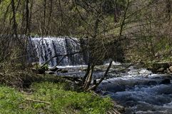 General view of Part at waterfall cascade of river Bistritsa between village  Bistritsa and village Pancharevo, place for tourism. And travel in Vitosha royalty free stock photo