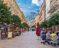General view of the pedestrian street with numerous cafes. MONTE CARLO, MONACO - NOVEMBER 2, 2014: General view of the pedestrian street with numerous cafes Stock Photography