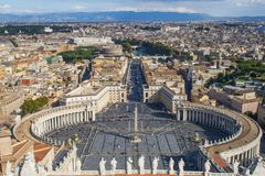 General view of  Piazza San Pietro in Vatican City Royalty Free Stock Image