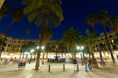 General view of Placa Reial in  evening time. Barcelona Stock Images