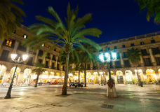 General view of Placa Reial in winter evening. Barcelona Stock Photography