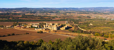 General view of Poblet Monastery and neighborhood Stock Photo