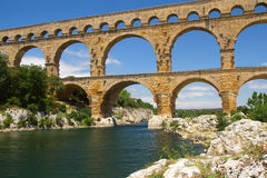 General view of the Pont du Gard (France) Stock Image