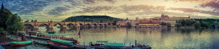 General view of Prague's historic center and the river Vltava - 1 Royalty Free Stock Photography
