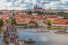 General view of Prague's historic center and the river Vltava - Stock Photos