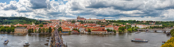 General view of Prague's historic center and the river Vltava Royalty Free Stock Image