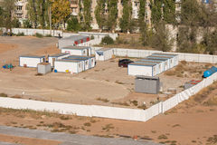 General view of the recreation area of personnel on the construction site Stock Photos