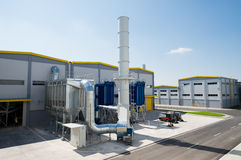 General view in a recycling waste to energy factory. Sofia, Bulgaria, September 14, 2015 - Waste processing pipeline system and turbine engine for processing stock image