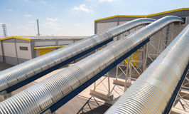 General view in a recycling waste to energy factory. Sofia, Bulgaria, September 14, 2015 - Waste processing pipeline system and turbine engine for processing Stock Photography