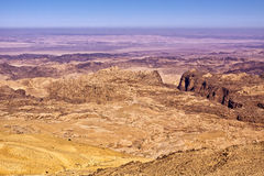 General view of the region of the historic city Petra in Jordan Royalty Free Stock Photo
