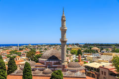 General view of Rhodes with roofs, minaret and mosque Royalty Free Stock Images